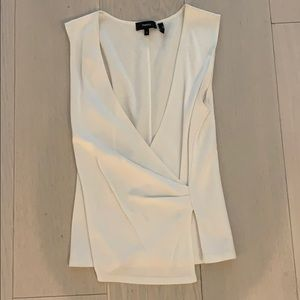 Theory white wrap top - size small